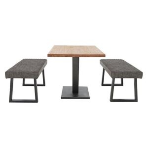 Compact Earth Dining Table and 2 Low Dining Benches