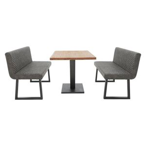 Compact Earth Dining Table and 2 Backrest Benches