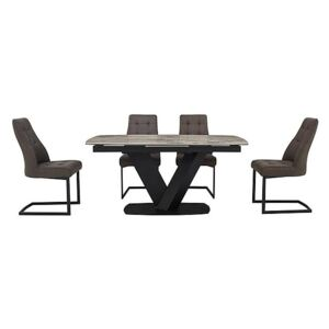 Merlin Extending Dining Table and 4 Chairs - Grey