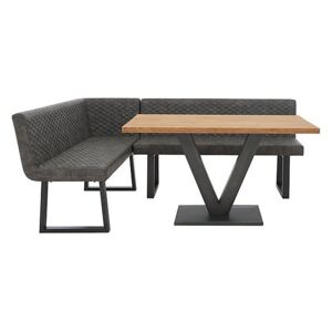 Compact Earth Dining Table and Left Hand Facing Corner Dining Bench