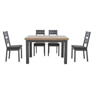 Cayenne Oak Extending DIning Table and 4 Oak Painted Dining Chairs