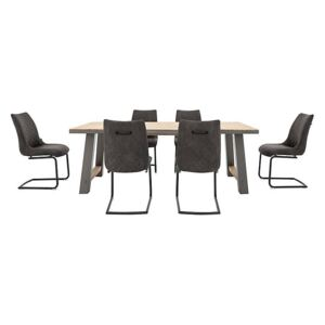 Baltimore Dining Table and 6 Dining Chairs Set - 180-cm