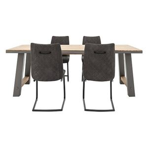 Baltimore Dining Table and 4 Dining Chairs Set - 180-cm