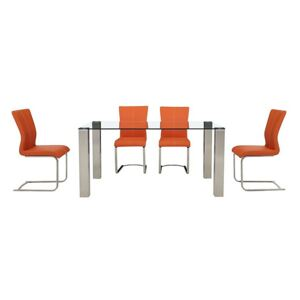 Ideas 160cm Dining Table with Clear Tabletop and 4 Dining Chairs with Square-Edged Cantilever Bases