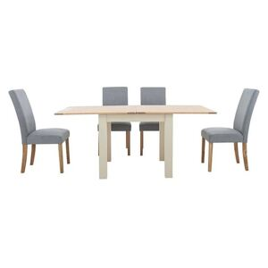 Furnitureland - Angeles Flip Top Extending Dining Table and 4 Fabric Dining Chairs in Nickel