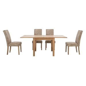 Furnitureland - California Flip Top Solid Oak Extending Table and 4 Faux Suede Chairs - Beige