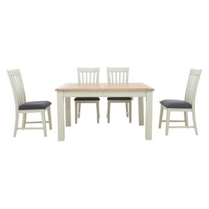 Furnitureland - Angeles Rectangular Extending Dining Table and 4 Wooden Dining Chairs