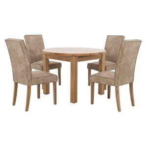 Furnitureland - California Round Solid Oak Extending Dining Table and 4 Faux Suede Dining Chairs