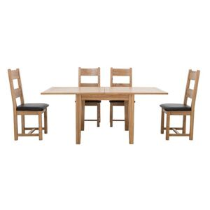Furnitureland - California Flip Top Solid Oak Extending Table and 4 Wooden Chairs - Brown