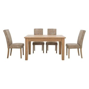 Furnitureland - California Rectangular Solid Oak Extending Dining Table and 4 Faux Suede Chairs - Beige