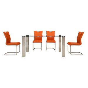 Ideas 160cm Dining Table with Clear Tabletop and 4 Handle-back Dining Chairs with Round-Edged Cantilever Bases
