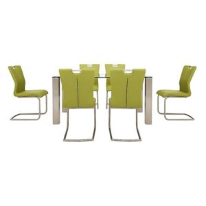 Ideas 160cm Dining Table with Clear Tabletop and 6 Handle-back Dining Chairs with Round-Edged Cantilever Bases