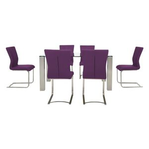 Ideas 160cm Dining Table with Clear Tabletop and 6 Dining Chairs with Square-Edged Cantilever Bases