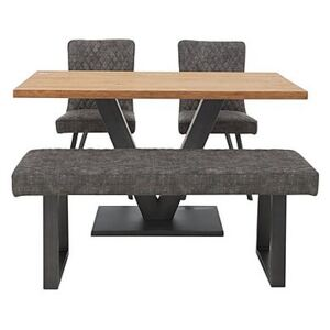 Compact Earth Dining Table, 2 Chairs and Low Bench Set - Grey