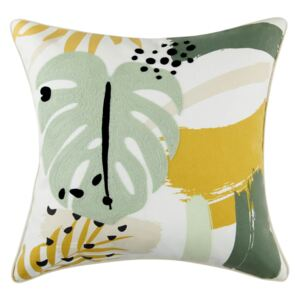 Abstract Floral Cushion - Green and Ochre