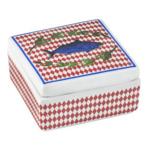 Bel Paese - Pesce Box - / Porcelain - 6 x 6 cm by Bitossi Home Blue/Red