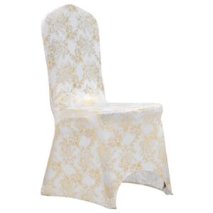 VidaXL 6 pcs Chair Covers Stretch White with Golden Print