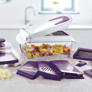 Cucinapro Chopper and Slicer with 7 Inserts Purple