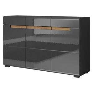 FURNITOP Chest of drawers HEKTOR HR42 anthracite gloss / appenzeller fichte