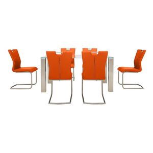 Ideas 160cm Dining Table with White Tabletop and 6 Handle-back Dining Chairs with Round-Edged Cantilever Bases