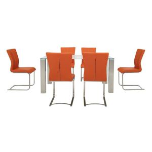 Ideas 160cm Dining Table with White Tabletop and 6 Dining Chairs with Square-Edged Cantilever Bases