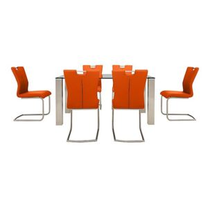 Ideas 160cm Dining Table with Grey Tabletop and 6 Handle-back Dining Chairs with Round-Edged Cantilever Bases