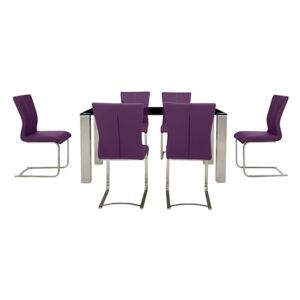 Ideas 160cm Dining Table with Black Tabletop and 6 Dining Chairs with Square-Edged Cantilever Bases