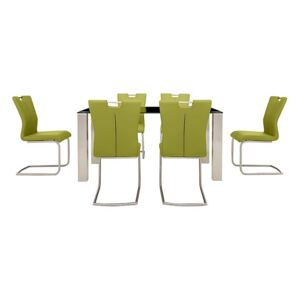 Ideas 160cm Dining Table with Black Tabletop and 6 Handle-back Dining Chairs with Round-Edged Cantilever Bases
