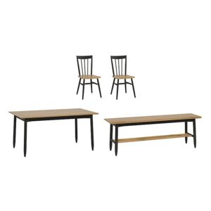 Ercol - Monza Medium Extending Dining Table, 2 Dining Chairs and Dining Bench