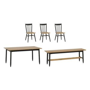 Ercol - Monza Medium Extending Dining Table, 3 Dining Chairs and Dining Bench