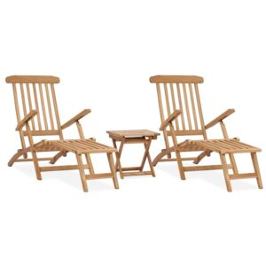 Garden Deck Chairs with Footrests and Table Solid Teak Wood