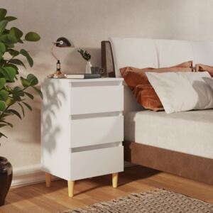 VidaXL Bed Cabinet with Solid Wood Legs White 40x35x69 cm