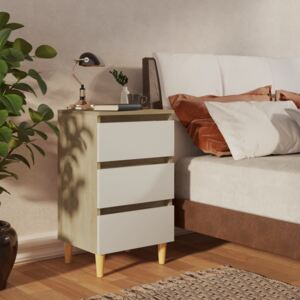 Bed Cabinet & Solid Wood Legs White and Sonoma Oak 40x35x69 cm