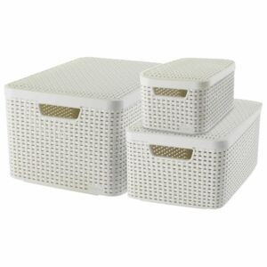 Curver Style Storage Basket with Lid 3 pcs White 240652