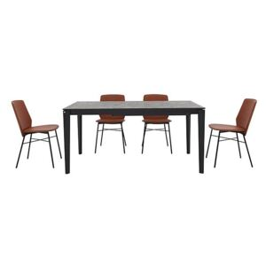 Calligaris - Pentagon Extending Dining Table with Oxide Bronze Top and 4 Sibilla Dining Chairs