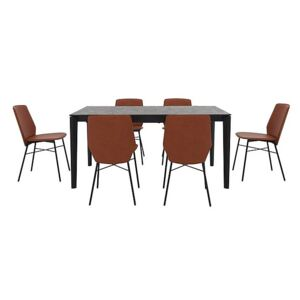 Calligaris - Pentagon Extending Dining Table with Oxide Bronze Top and 6 Sibilla Dining Chairs