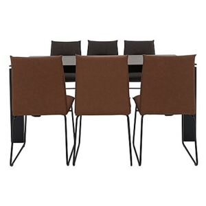Calligaris - Gate Dining Table and 6 Maya Ski Leg Faux Leather Dining Chairs
