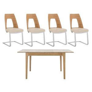 Ercol - Romana Small Extending Dining Table and 4 Cantilevered Dining Chairs - Brown