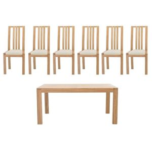 Ercol - Bosco Medium Extending Table and 6 Slatted Chairs - Brown