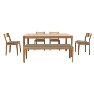 Ercol - Ella Medium Extending Dining Table, 4 Dining Chairs and Medium Dining Bench - Brown