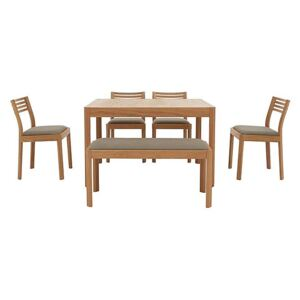 Ercol - Ella Small Extending Dining Table, 4 Dining Chairs and Small Dining Bench - Brown