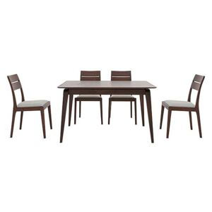 Ercol - Lugo Small Fixed Dining Table and 4 Dining Chairs - Brown