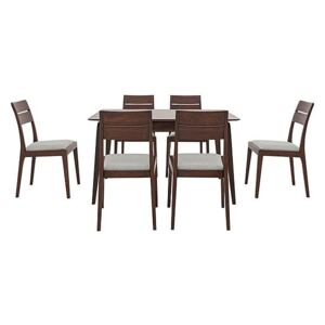Ercol - Lugo Small Fixed Dining Table and 6 Dining Chairs - Brown
