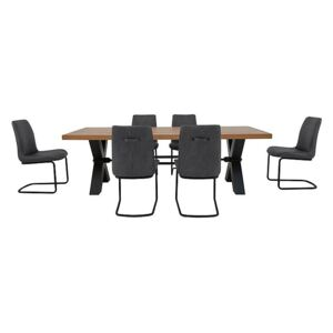 Terra Dining Table and 6 Grey Chairs - Brown