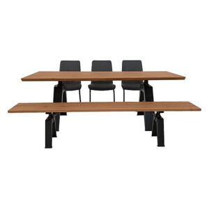 Thor Dining Table, 3 Grey Dining Chairs and Dining Bench Dining Set