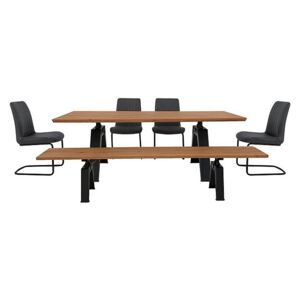 Thor Dining Table, 4 Grey Dining Chairs and Dining Bench Dining Set - Brown