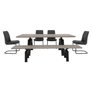 Thor Dining Table, 4 Grey Dining Chairs and Dining Bench Dining Set - Grey