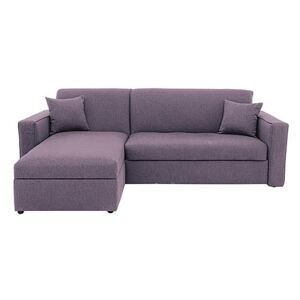 Versatile Small 2 Seater Fabric Chaise Sofa Bed with Box Arms - Purple