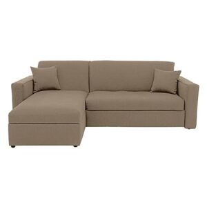 Versatile Small 2 Seater Fabric Chaise Sofa Bed with Box Arms - Beige