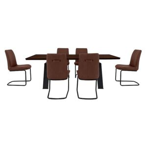 Thor Dining Table and 6 Cognac Dining Chairs Dining Set - Brown